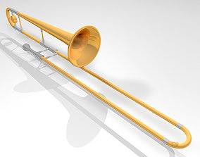 Trombone with Working Slide 3D model