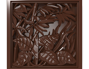 3D print model The plants in the square frame bas relief 1