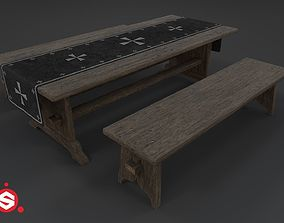 Medieval Table and Bench PBR 3D asset