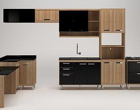 Black and Wood Kitchen Set 3D