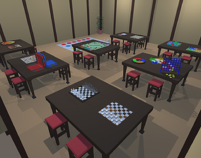 3D asset Low Poly Board Games