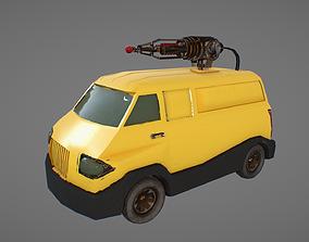 3D model yellow van with laser