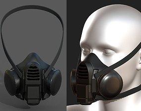 3D asset Gas mask respirator Black plastic
