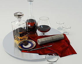 3D Set whiskey and cognac decanter on dish