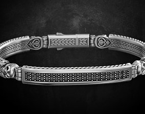Stylish bracelet with a skull in silver 3D printable model