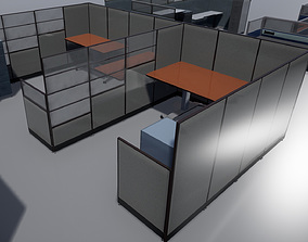 3D asset Office cubicle set