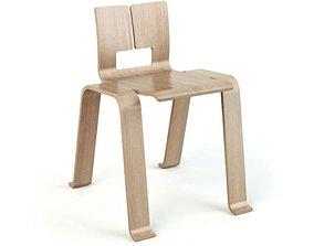 Wooden Armless Chair 3D model