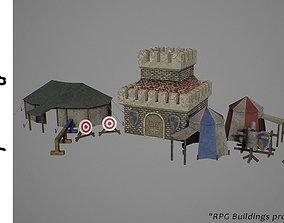 3D model low-poly Barracks