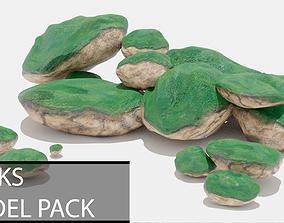 Mossy Rocks Pack 3D model rock