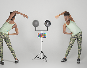Pretty young african woman doing exercise 3D asset