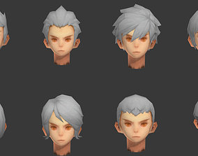 3D asset men hair hair style short hair face head barber