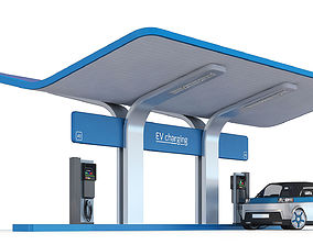 3D model EV charging station