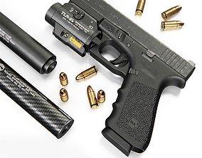 Pistol Glock 17 Gen4 and Flashlight with laser 3D model