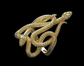 3D printable model ring snake gold