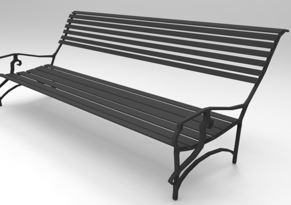 Low poly Wooden Bench