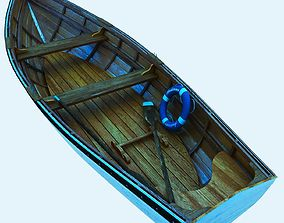 3D Realistic Row fishing Boat