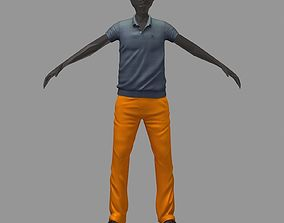 avatar casual set grey polo orange pants sneakers 3D model