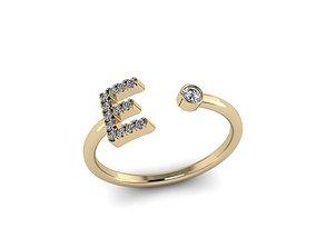 gem Letter Jewelry Ring 3D print model