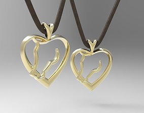 Heart shaped pendant with horse head 3D printable model