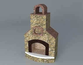 3D Round top fireplace
