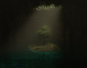 Dark cave with tree 3D model