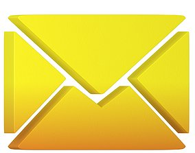 3D model Message Letter Icon yellow or Orange