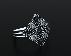 Stylish checkerboard ring white and 3D printable model 2