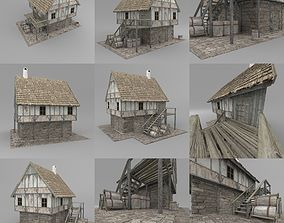 village 3D model VR / AR ready Fantasy house