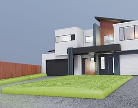 3D model modern house building town house