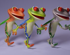 Toon Humanoid Frog 3D model animated