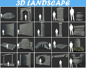3D model Low poly Ancient Dragon Temple Element Pack