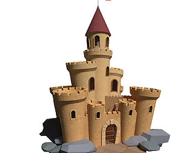 Medieval castle with build animation 3D model