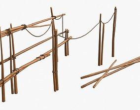 3D asset Old Wooden Fences 01