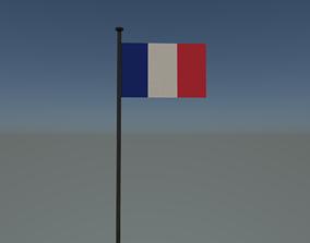 France flag 3D asset animated