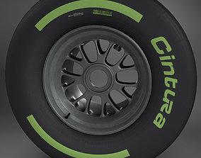 F1 tyre intermediate rear 3D