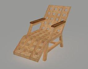 3D asset Wooden lounger