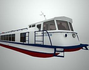 3D asset low-poly River passenger motor ship Zarya