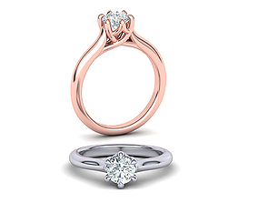 Six Prong Trellis Solitaire Engagement Ring 3dmodel 1