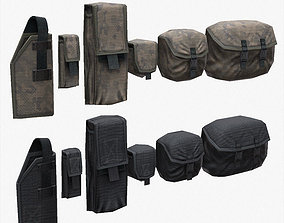 Lowpoly Tactical Pouches Set 3D model