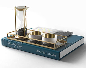 Books with Hourglass and Cups 3D