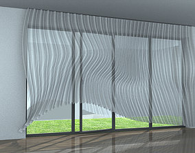 3D model windy curtain in the house