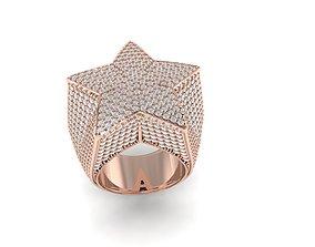 Star ring full diamond luxury jewelry 3D printable model