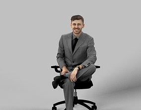3D asset Peter A Business Man Sitting At His Desk 1