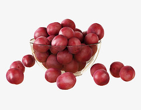 Red plums in a vase 3D model
