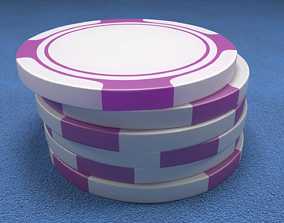 3D model Poker Chips Purple and White