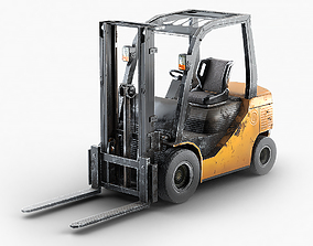 3D asset Forklift Truck For Games And Videos