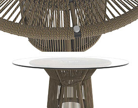 Holly Hunt Acacia round Dining Table 3D