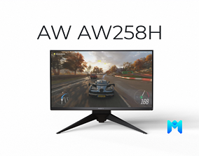 3D model Alienware AW258H 25 inch gaming monitor