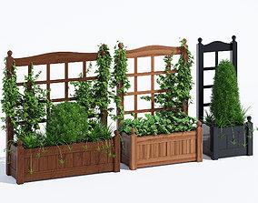 Stain classic planter trellis 3D model