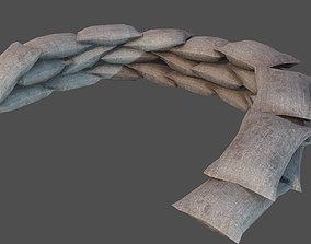 3D model low-poly Sandbags Defense PBR